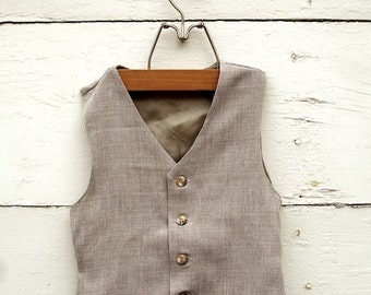BOYS VEST-Sepia Tan, Tan Boys vintage style Vest, Boys ring bearer vest (sz. available 1-10 year old)