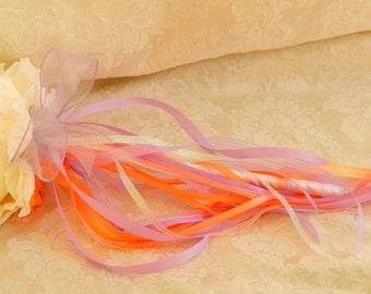 Flower Girl Wand- White Peony Orange and Lavender Wand- Wedding Accessory