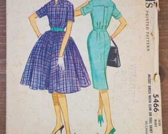 """1960's McCall's One-Piece Dress pattern - Bust 36"""" - No. 5466"""