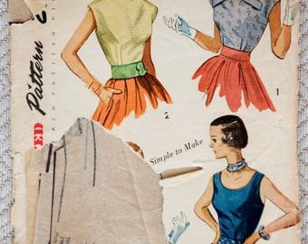"1950's Simplicity Misses' Sleeveless and Cap Sleeve Blouse pattern - Bust 34"" - No. 3263"