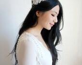 Bridal Floral Crown, White Flower Bridal Hairpiece, Woodland Flower Halo