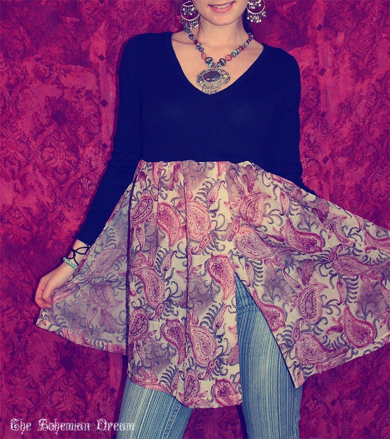 bohemian tunic top knit slit sheer fabric lace back boho