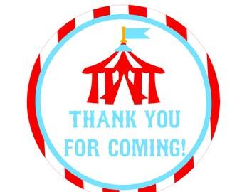 Printable Circus Thank You Tags
