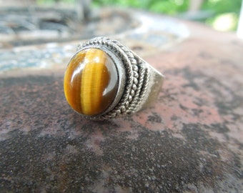 Sterling Silver Ring Tigers Eye Size 7.5 or 7 1/2