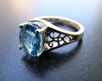 15% Off Sale.S221 New Sterling Silver Antique Style Filigree Ring With 3 Carat Natural  Blue Topaz