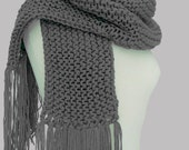Long Chunky Knit Scarf with Fringe in Gray