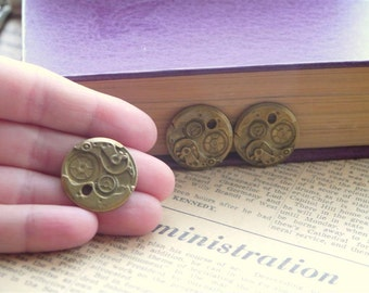 CLEARANCE 4 pcs Bronze Steampunk Clock Gears Pendants 25mm (BC917)
