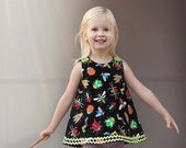 Summer Dress - Bugs Baby Dress  - Love Bugs - Birthday Gift - Nursery - Custom Design - Girl Designs - KK Children Designs - 3M to 4T