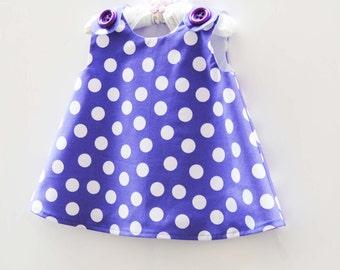 Baby Clothing - Purple Polkda Dots - Baby Dress - Nusery - Gift for Her - Baby Shower - Handmade by KK Children Designs - 3M to 4T