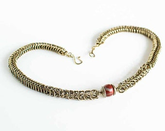 "Brass Necklace Jasper Box Chain Chainmaille Tapered 18"" Necklace Antiqued Brass ft. Red Jasper 12mm Round Beads Mail"