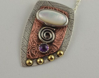 Mother of Pearl Pendant - Artisan Metal Jewelry - Textured Metal Necklace - Metalsmith Jewelry