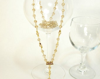 Champagne Czech Fire Polished Crystal Deco Gold Heart Lock and Key Rosary Style Extra Long Necklace