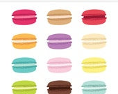 Macaron Cookie Digital Clipart - 12 Pieces for Personal & Commercial Use - INSTANT DOWNLOAD