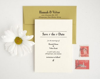 POMONA Letterpress Save the Date - Unique Modern meets Vintage - Mini Golden Green