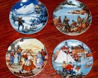 """4 PLATES AVON AMERICAN Portraits Collection Rockies East West Southwest 4 1/8"""" Round Porcelain Sheffler Artist 1985 Excellent Condition"""