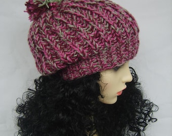 Hat - women,knitted,crochet,slouchy,multicolour,pompom, pink, beret, melange,large,rasta, green,beanie,accessories