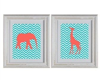 Chevron Jungle Animals Nursery Wall Art DIY Printable Set- Giraffe and Elephant- Aqua & Coral