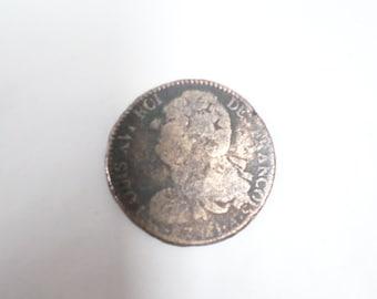 French Antique Louis XVI 2 Sol Coin 1791 Paris (w636)