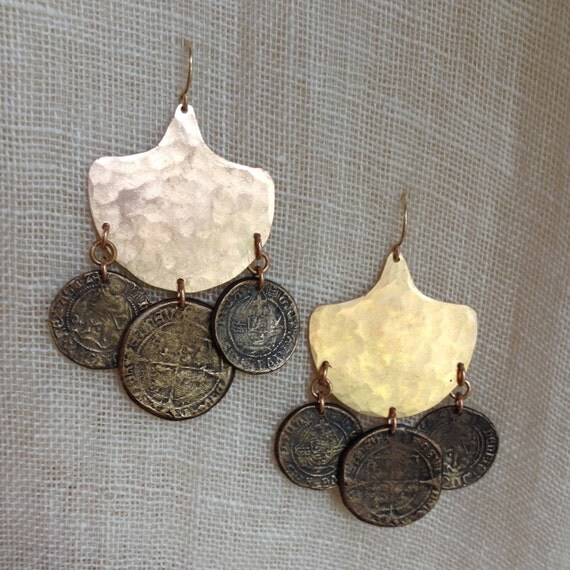 Traveler Chandelier Earrings with bronze coins