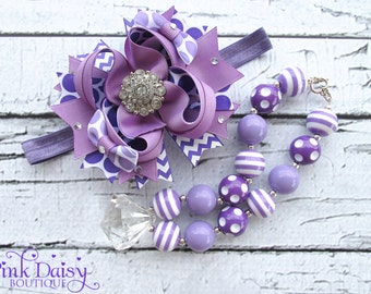 Purple & Lavender Bow and Necklace Set. Birthday Bow and Necklace Set. Stacked Bow. Layered Bow. Chunky Beaded Necklace. Gum Ball Necklace.