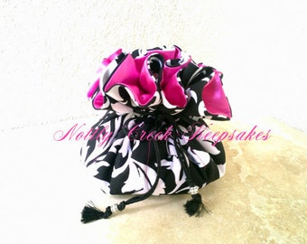 Bridesmaid Gifts / Fuchsia Drawstring Jewelry Pouch / Travel Jewelry Case / Cosmetics Organizer/ Black and White Design with Fuchsia Pink