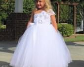 Elegance in White - Couture Flower Girl  Tutu Dress  SIZES  18-24m - girls 7