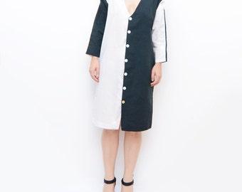 Vintage black and white summer dress / coat