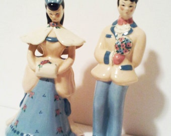 Kay Finch Signed Godey Lady and Man Figurines California