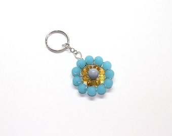 Beaded keychain in ocean blue, yellow and gray, silver toned wire wrapped, wire bead accessory