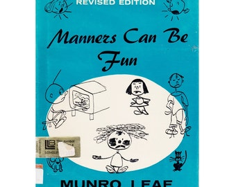 Manners Can Be Fun, Munro Leaf book, stick figure cartoon illustrations, good citizenship, etiquette book, Munro Leaf, Story of Ferdinand