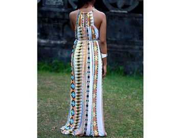 Tribal Maxi Dress, Summer Dress Aztec Print, Womens Dress, Sundress