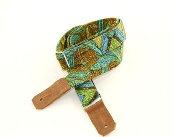 Ukulele Strap in Ocean Green Blue Paisley with Leather ends and optional tie lace