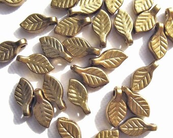 100 Champagne Gold Leaf Acrylic Beads Matte Finish Leaves - 10mm x 5.5mm 18g