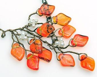 Orange Leaf Necklace, Twig Necklace, Beaded Necklace, Woodland Jewelry, Leaf Jewelry