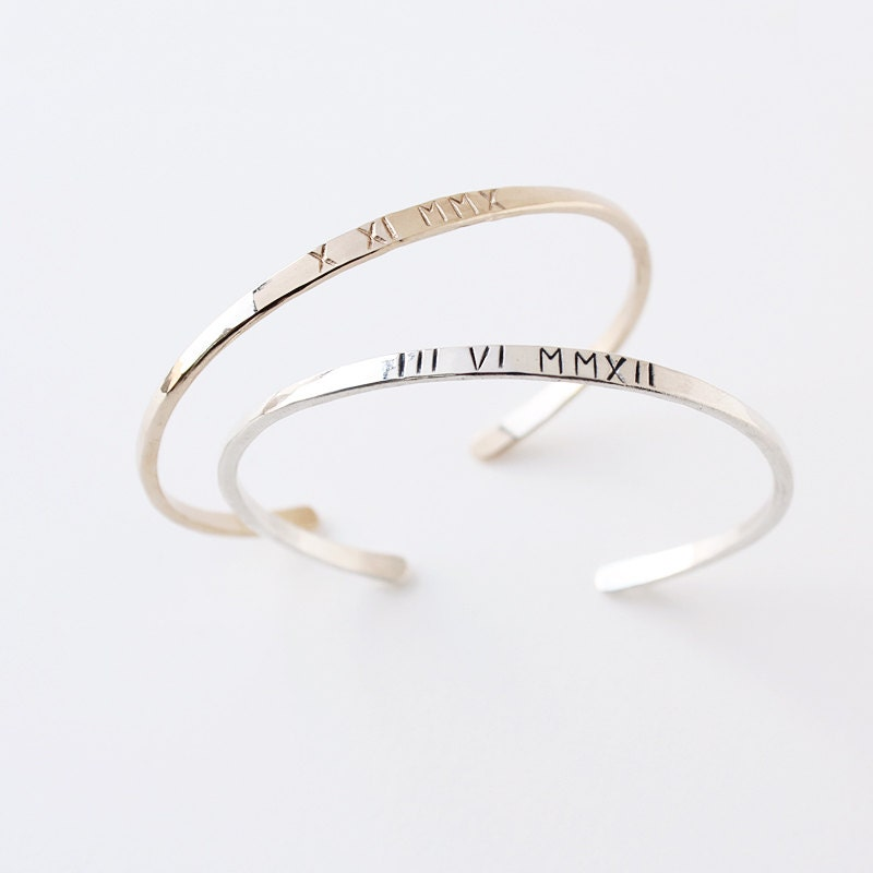 The Original Custom Roman Numeral Cuff Bracelet Personalized