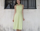Vintage Inspired Dress/Halter/Retro/Lime Green/Summer Dress/Cotton/Extra Small