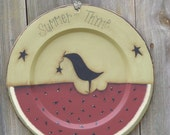 Primitive Handpainted Wooden Plate with Watermelon and Black Crow