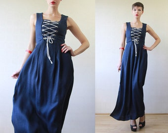 Navy blue nautical rope lace up corset fitted long maxi dress XS