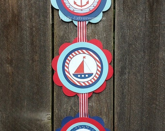Ahoy It's A Boy/ Baby Shower Door Sign - Navy Blue, Light Blue, Red, White