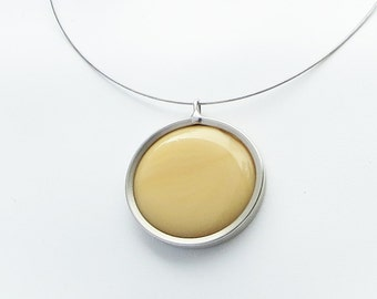 Caramel Pendant,  glass jewelry, Melted glass marble jewelry, pendant necklace 047