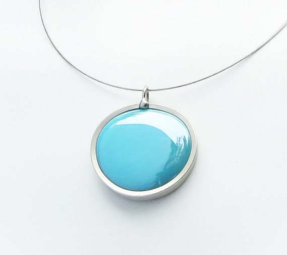 Sky Blue Pendant Necklace,  Statement Jewelry, Simple Jewelry, Choker, Melted glass marble necklace, glass jewelry 049