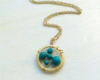 Turquoise Dream Catcher Necklace Gold Small Dream Catcher Turquoise 18 K Gold Overlay Necklace
