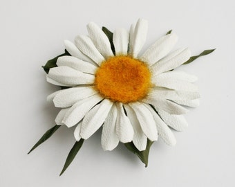 Leather Daisy Flower Brooch
