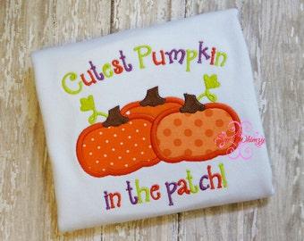 Halloween shirt- cutest pumpkin in the patch shirt or bodysuit- Pumpkin patch shirt- Pumpkin shirt