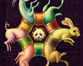 Colorful nursery art, Circus Circularity: Surreal animal art print, Pig, rabbit, goat, panda bear, Rainbow oddity curiosity, Kids' décor