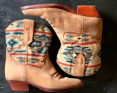 Southwestern Ankle Boots Woven Textile Shaft and Suede Leather Toe