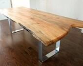 live edge salvaged maple dining table custom metal legs chrome modern design