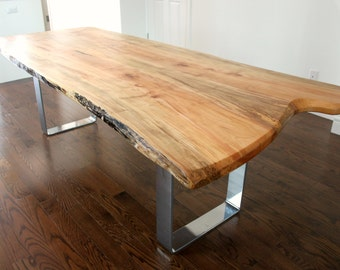 live edge salvaged maple dining table custom metal legs chrome modern design