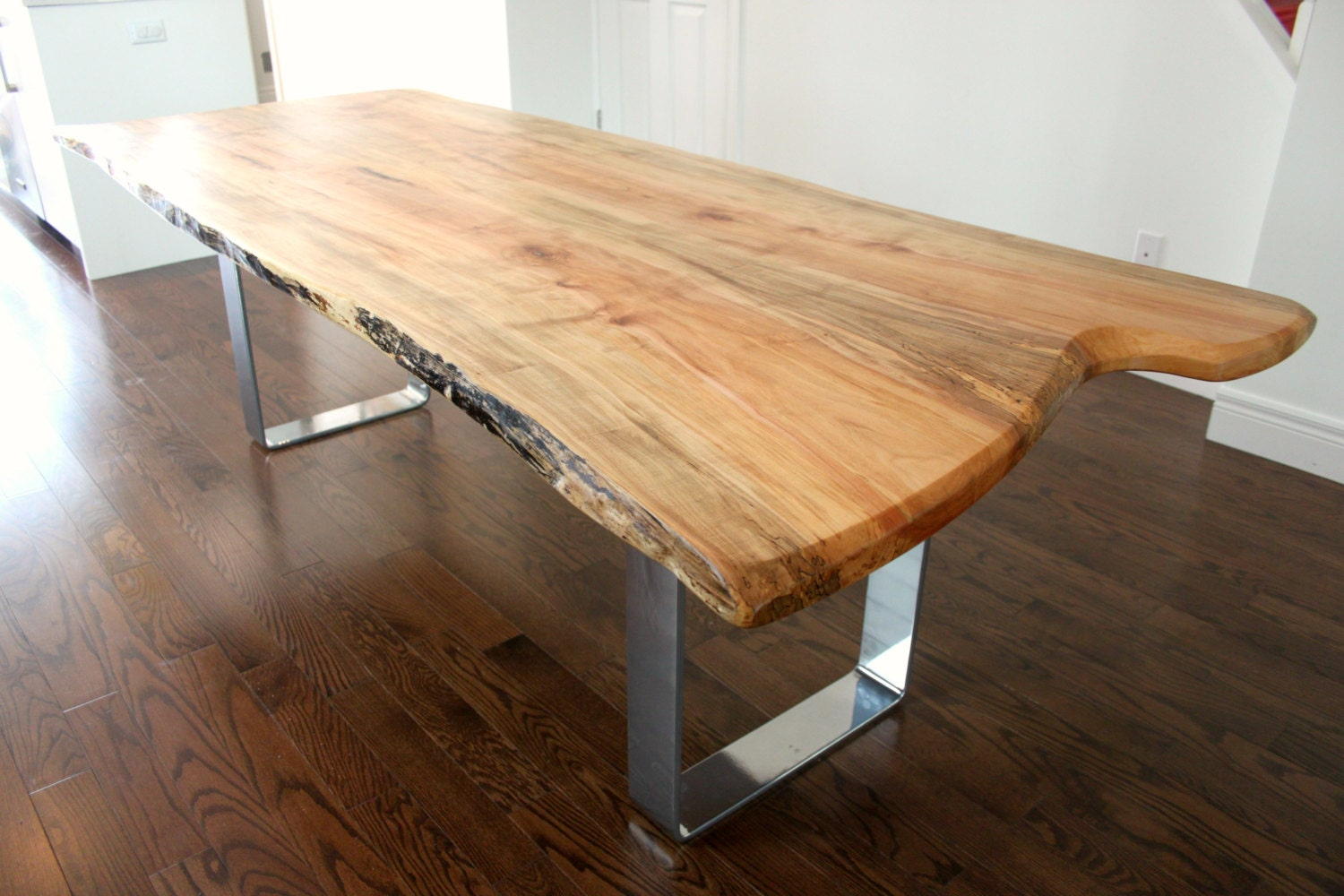 live edge salvaged maple dining table custom metal legs chrome