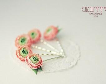 Floral hairpin, 1 pc. Peony hairpin, pink flower haipin